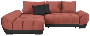WOHNLANDSCHAFT in Textil Braun, Grau, Rosa  - Braun/Rosa, MODERN, Textil/Metall (192/290cm) - Carryhome