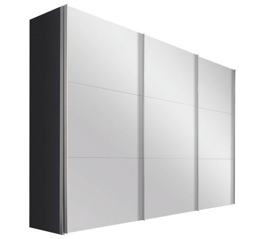 SCHWEBETÜRENSCHRANK in Graphitfarben - Alufarben/Graphitfarben, Design, Glas/Holzwerkstoff (300/236/68cm) - Hom`in