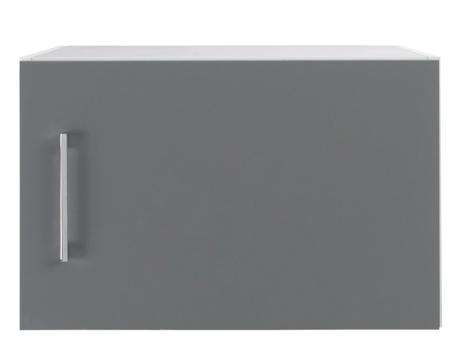AUFSATZSCHRANK - Chromfarben/Weiß, Design, Holzwerkstoff/Metall (50/32/57cm) - WELNOVA