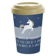 COFFEE-TO-GO-BECHER 0,4 l - Blau/Goldfarben, KONVENTIONELL, Holz/Kunststoff (9/13,5cm)