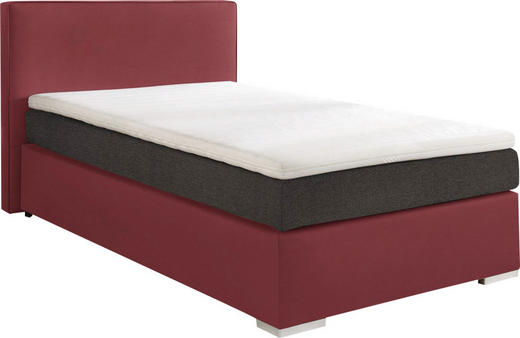 BOXSPRINGBETT  in Grau, Rot - Rot/Alufarben, KONVENTIONELL, Kunststoff/Textil (120/200cm) - Esposa