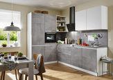 KOTNA KUHINJA sistem za mehko in tiho zapiranje   - bela/svetlo siva, Design, leseni material (185/275cm) - Welnova