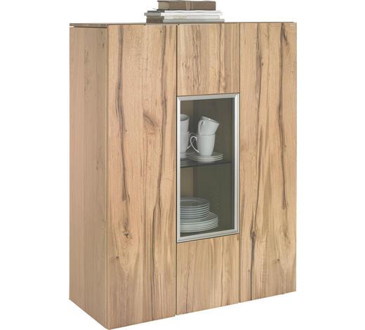 HIGHBOARD 96/130/42,3 cm  - Eichefarben/Silberfarben, Natur, Glas/Holz (96/130/42,3cm) - Voglauer