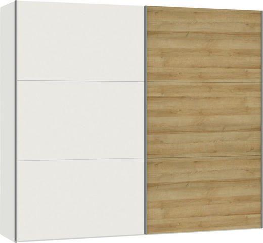 SCHWEBETÜRENSCHRANK 2-türig Eichefarben, Weiß - Eichefarben/Silberfarben, Design, Holzwerkstoff/Metall (252,8/220/65cm) - Jutzler