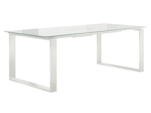 ESSTISCH rechteckig Weiß - Weiß, Design, Glas/Metall (220/100/75cm) - Now by Hülsta