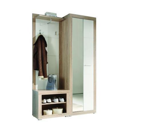 ŠATNA, bílá, Sonoma dub - bílá/Sonoma dub, Konvenční, kompozitní dřevo (120/194/37cm) - Cantus