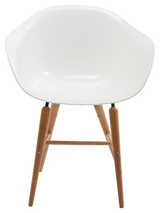 ARMLEHNSTUHL Buche massiv Naturfarben, Weiß - Naturfarben/Weiß, Trend, Holz/Kunststoff (60/79/53cm) - Kare-Design