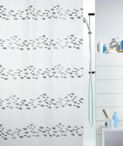 DUSCHVORHANG  Silberfarben, Weiß - Silberfarben/Weiß, KONVENTIONELL, Kunststoff (180/200cm) - Spirella