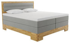 BOXSPRINGBETT 140/200 cm  INKL.  - Eichefarben/Grau, KONVENTIONELL, Holz/Textil (140/200cm) - Linea Natura