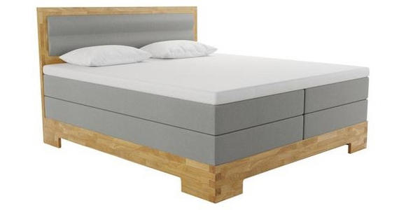 BOXSPRINGBETT 160/200 cm  INKL.  - Eichefarben/Grau, KONVENTIONELL, Holz/Textil (160/200cm) - Linea Natura