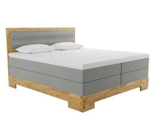 BOXSPRINGBETT 180/200 cm  INKL.  - Eichefarben/Grau, KONVENTIONELL, Holz/Textil (180/200cm) - Livetastic