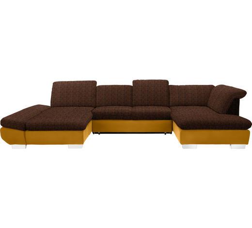 WOHNLANDSCHAFT in Textil Gelb, Orange  - Chromfarben/Gelb, Design, Kunststoff/Textil (204/350/211cm) - Xora