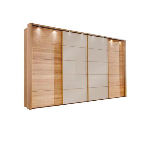 SCHWEBETÜRENSCHRANK 4-türig Eiche teilmassiv Eichefarben, Sahara - Eichefarben/Sahara, Design, Glas/Holz (400/236/67cm) - Linea Natura