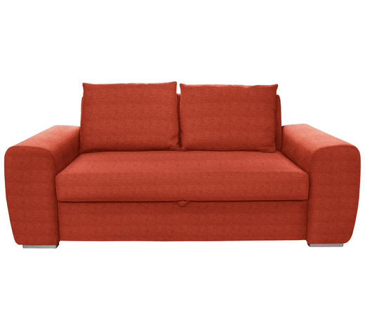 SCHLAFSOFA in Textil Orange - Chromfarben/Orange, Design, Holz/Textil (199/92/97cm) - Hom`in