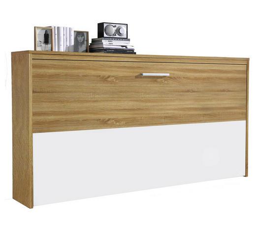 KLAPPBETT in Holzwerkstoff Weiß, Eichefarben - Eichefarben/Weiß, Design, Holzwerkstoff (90/200cm) - Carryhome
