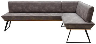 ECKBANK Lederlook Eiche massiv Grau, Schwarz, Eichefarben  - Eichefarben/Schwarz, Design, Holz/Textil (243/163cm) - Voleo