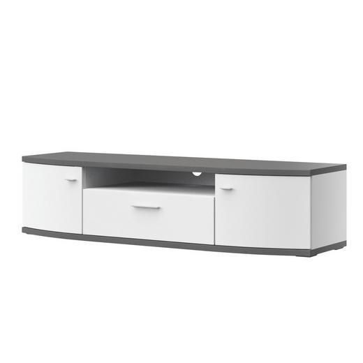 TV-ELEMENT Graphitfarben, Weiß - Graphitfarben/Alufarben, Design, Kunststoff/Metall (165,1/40,5/50cm) - Xora
