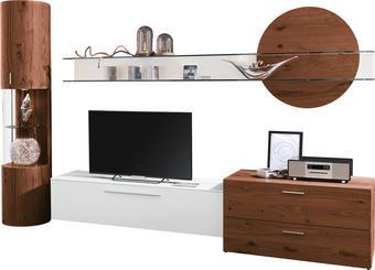 OBÝVACÍ STĚNA - bílá/barvy ořechu, Design, kov/dřevo (308/204,2/51,9cm) - AMBIENTE BY HÜLSTA
