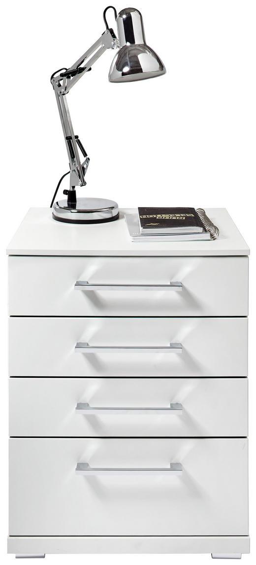 NACHTKÄSTCHEN bedruckt Weiß - Chromfarben/Silberfarben, KONVENTIONELL, Kunststoff (48/63/42cm) - Xora