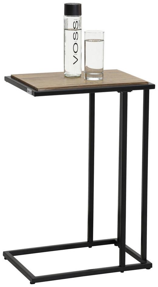 Beistelltisch in Eichefarben, Schwarz - Eichefarben/Schwarz, Design, Holzwerkstoff/Metall (30/60/40cm) - Carryhome