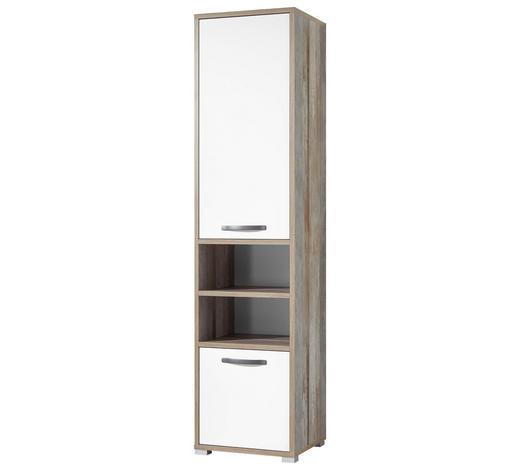 STANDREGAL Naturfarben, Weiß  - Anthrazit/Silberfarben, KONVENTIONELL, Holzwerkstoff/Kunststoff (49/201/46cm) - Carryhome