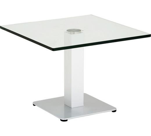 BEISTELLTISCH in Metall, Glas 60/60/44,5 cm  - Silberfarben, KONVENTIONELL, Glas/Metall (60/60/44,5cm)