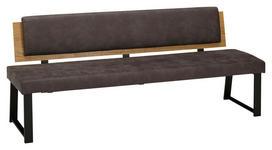 SITZBANK 160/85/60 cm  in Dunkelgrau, Eichefarben - Dunkelgrau/Eichefarben, MODERN, Holz/Textil (160/85/60cm) - Venda
