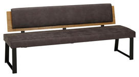 SITZBANK 200/85/60 cm  in Grau, Eichefarben  - Eichefarben/Schwarz, MODERN, Holz/Textil (200/85/60cm) - Venda