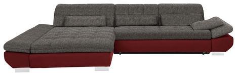 WOHNLANDSCHAFT in Textil Braun, Weinrot - Chromfarben/Weinrot, Design, Kunststoff/Textil (204/341cm) - Xora