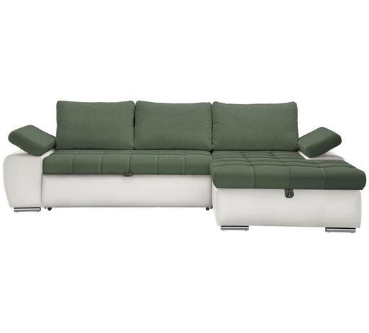 WOHNLANDSCHAFT in Textil Grün, Weiß  - Weiß/Nickelfarben, Design, Kunststoff/Textil (271/175cm) - Xora
