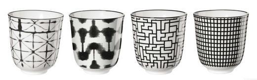 TASSENSET 4-teilig Keramik Schwarz, Weiß - Schwarz/Weiß, Design, Keramik (7,5/8,2cm) - ASA
