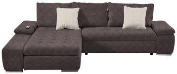 WOHNLANDSCHAFT in Beige, Braun Textil - Chromfarben/Beige, Design, Kunststoff/Textil (200/300cm) - Hom`in