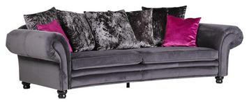 MEGASOFA in Textil Grau  - Pink/Dunkelgrau, LIFESTYLE, Holz/Textil (276/81/140cm) - Landscape