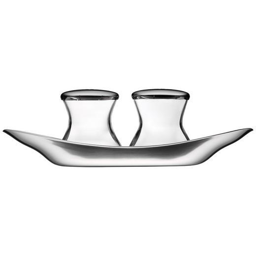 SALZ- UND PFEFFERSTREUER - Klar/Edelstahlfarben, Basics, Glas/Metall (17cm) - WMF