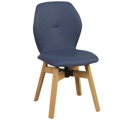STUHL in Holz, Textil Blau, Eichefarben  - Blau/Eichefarben, Design, Holz/Textil (47/87/58cm) - Lomoco