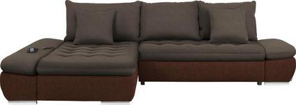 WOHNLANDSCHAFT Armteilverstellung, Bettkasten, Relaxfunktion, Rückenkissen, Schlaffunktion, Zierkissen - Chromfarben/Braun, Design, Textil/Metall (200/309cm) - Hom`in