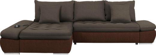 WOHNLANDSCHAFT Braun - Chromfarben/Braun, Design, Textil/Metall (200/309cm) - Hom`in