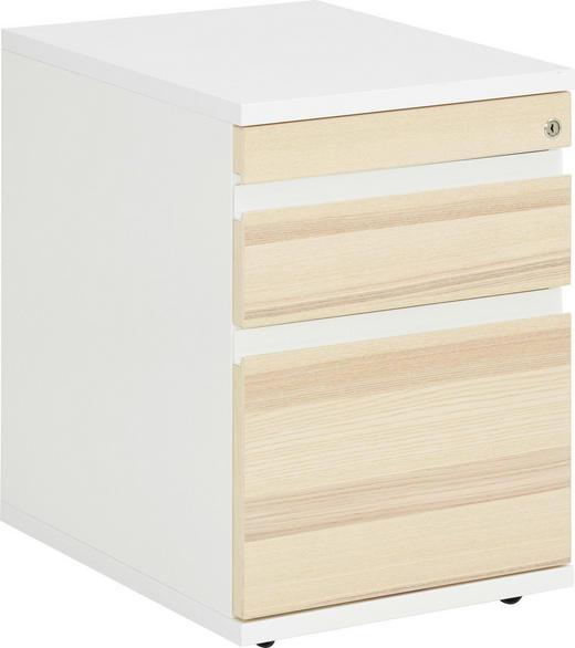 ROLLCONTAINER - Eschefarben/Weiß, Design, Holz/Holzwerkstoff (45/62,5/59,8cm) - Invivus