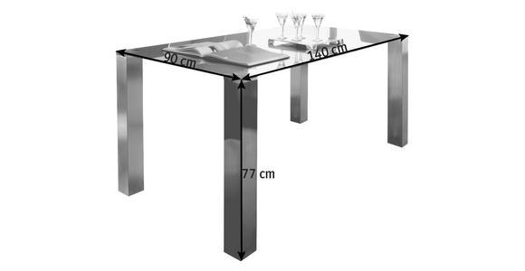 ESSTISCH in Metall, Glas 140/90/77 cm   - Edelstahlfarben/Grau, Design, Glas/Metall (140/90/77cm) - Dieter Knoll