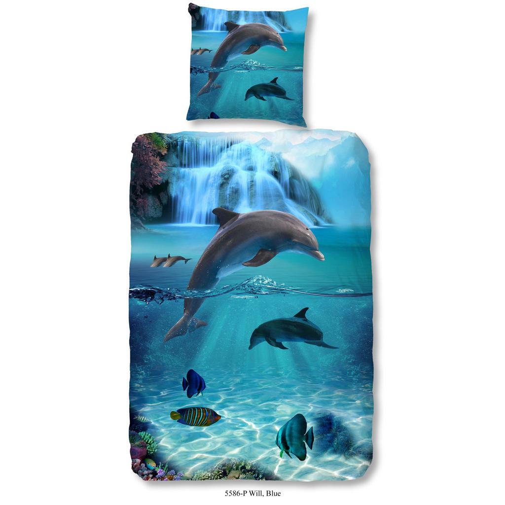 Blaue Kinderbettwäsche mit Delfinmotiv