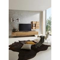 WOHNWAND Wildeiche furniert Grau, Naturfarben  - Naturfarben/Grau, Design, Glas/Holz (276/154/55,2cm) - Voglauer