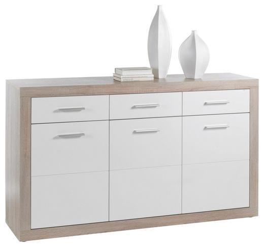 SIDEBOARD Sonoma Eiche, Weiß - Silberfarben/Weiß, Design, Holzwerkstoff/Kunststoff (147/89/37cm) - Carryhome