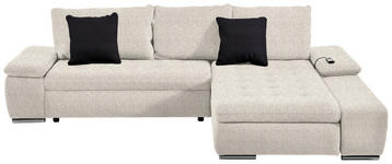 WOHNLANDSCHAFT Webstoff Relaxfunktion, Rückenkissen, Schlaffunktion, Zierkissen - Chromfarben/Beige, Design, Kunststoff/Textil (300/200cm) - Hom`in
