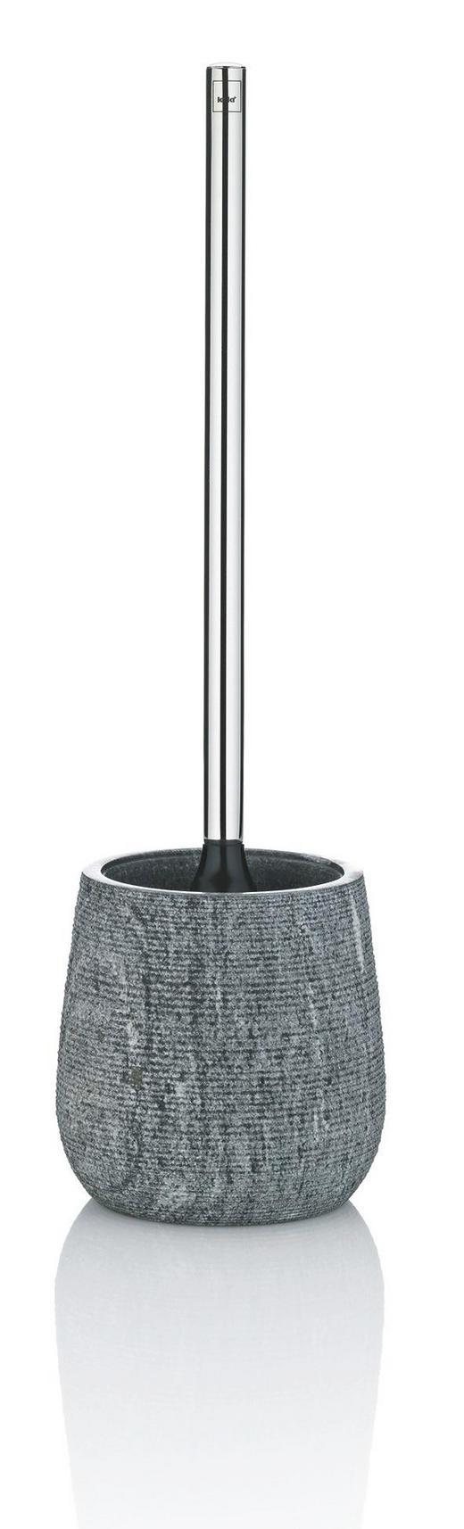 WC-BÜRSTENGARNITUR - Silberfarben/Schwarz, KONVENTIONELL, Kunststoff/Stein (13/43,5cm)