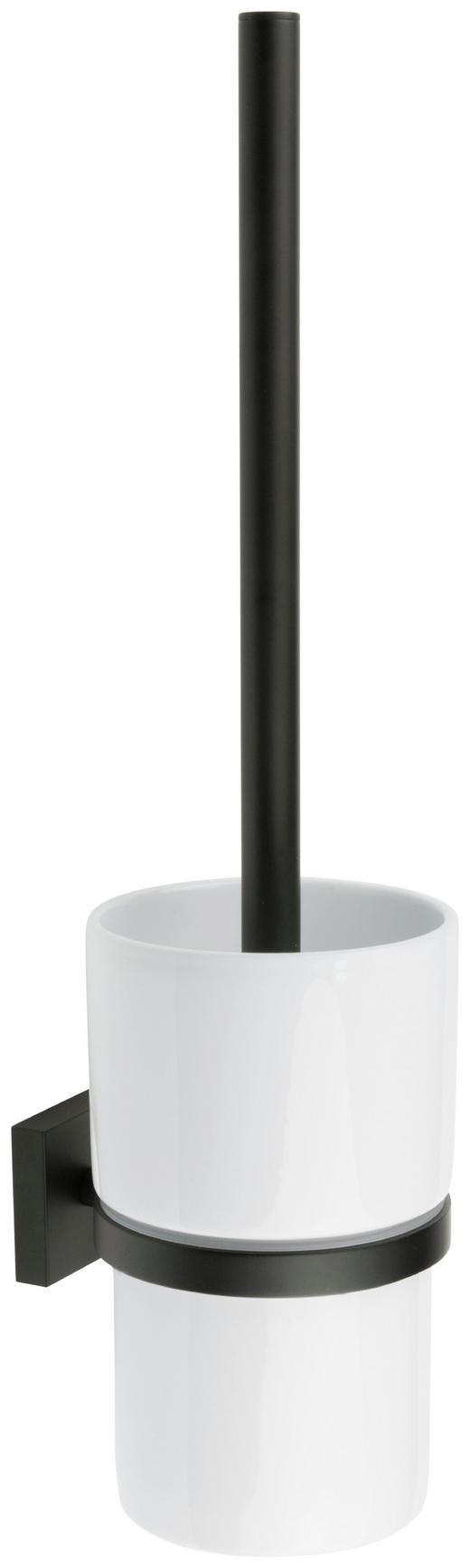 WC-BÜRSTENGARNITUR - Schwarz/Weiß, Design, Keramik/Kunststoff (11,9/38/11,9cm)