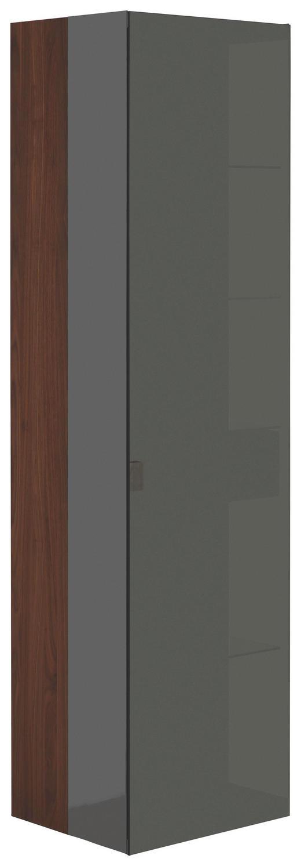 VITRINE in mehrschichtige Massivholzplatte (Tischlerplatte) Nussbaum Nussbaumfarben - Edelstahlfarben/Nussbaumfarben, Design, Glas/Holz (50/190/44cm) - Team 7