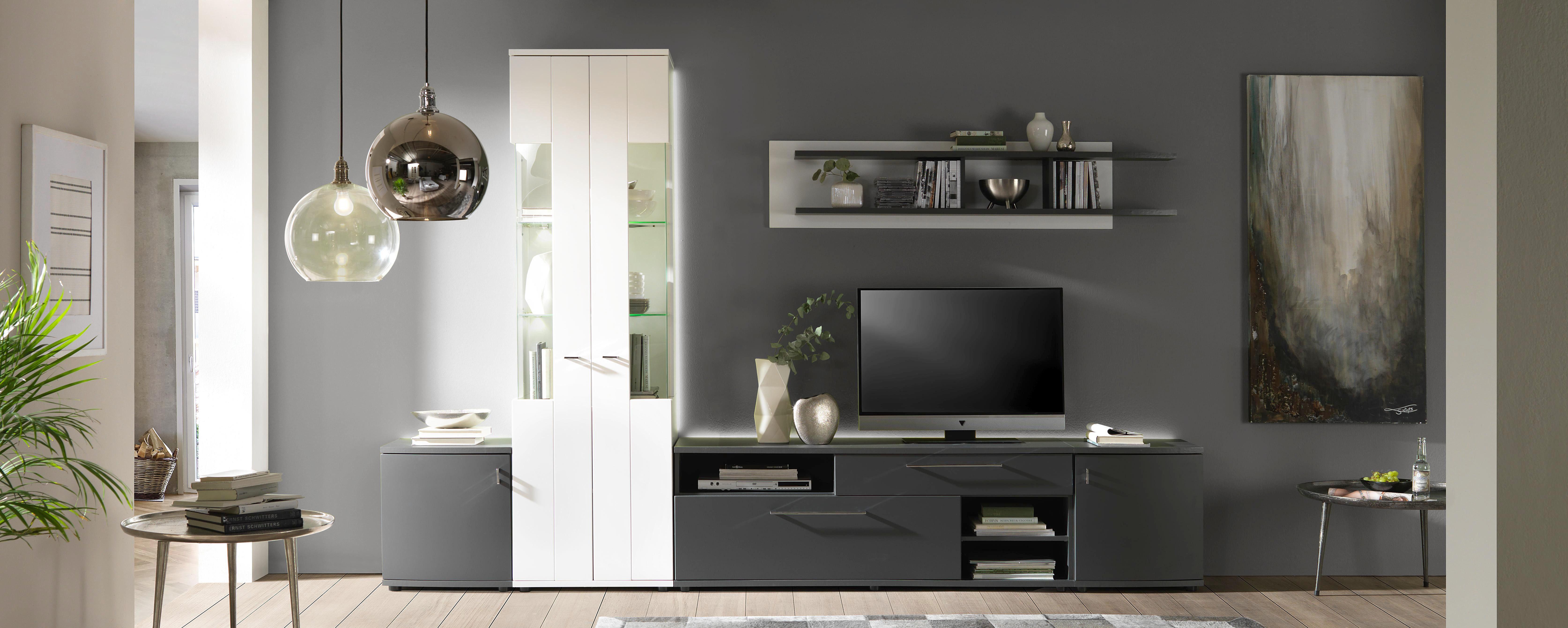 REGAL ZA DNEVNI BORAVAK - Grafitno siva/Crna, Moderno, Plastika/Metal (310/205/42cm) - Carryhome