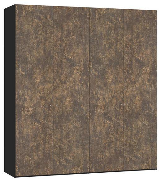 DREHTÜRENSCHRANK 4-türig Bronzefarben, Schwarz - Silberfarben/Schwarz, Design, Holzwerkstoff/Metall (202,5/220/58,5cm) - Jutzler