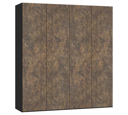 DREHTÜRENSCHRANK in Schwarz, Bronzefarben - Silberfarben/Schwarz, Design, Holzwerkstoff/Metall (202,5/220/58,5cm) - Jutzler