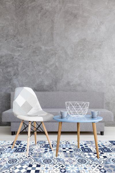 LÄUFER  Blau, Weiß  60/90 cm - Blau/Weiß, Basics, Kunststoff (60/90cm)